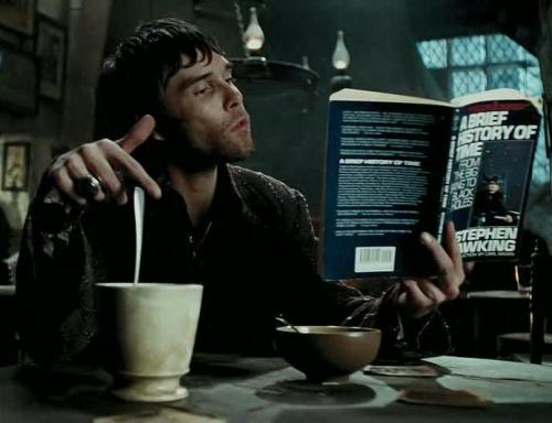 A customer of The Leaky Cauldron in Harry Potter reading A Brief History Of Time by Stephen Hawking