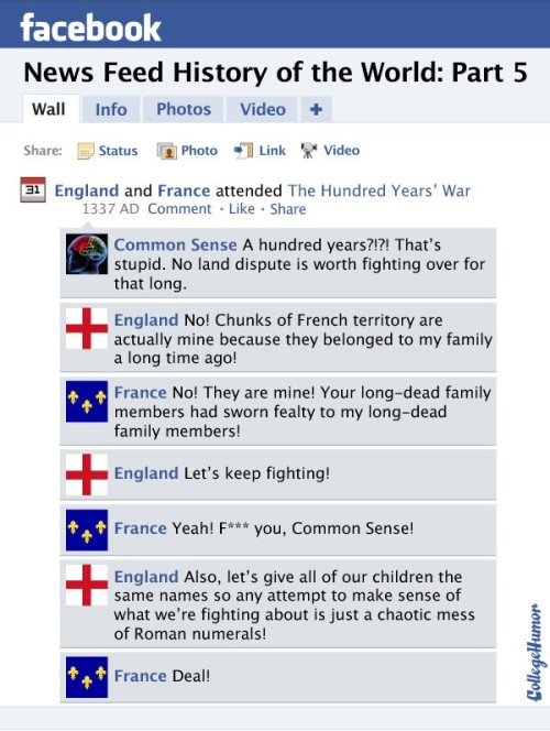 Facebook Newsfeed History of the World (Pt 5):  Hundred Years' War to the New World (Click to read through) History nerds and Facebook addicts, rejoice! Part 5 of the internet's only complete retelling of world history via Facebook newsfeed is here.