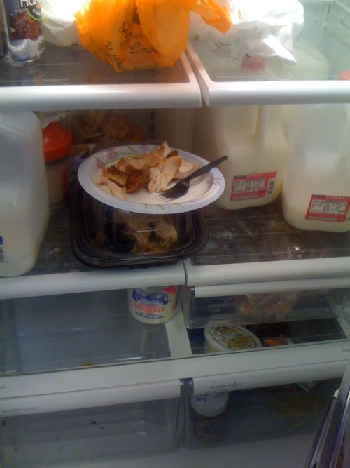 Who puts a half-eaten, uncovered plate of chicken in a work fridge!?
