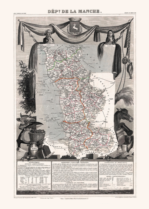 "insigniac:  ‎1852 Map of Manche, the ""Camembert"" region of France. Yep, the cheese was meant as chemical weapon against the English. A greeting card: http://bit.ly/mRlby8"