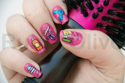 Adorable nail art, by Rubia Olivo, inspired by cosmetics.