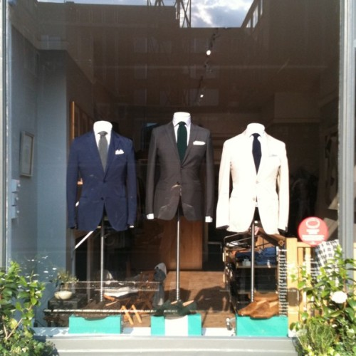 Suits from Piombo, shirts from MCR, ties from Drakes & loafers from Edward Green (Taken with Instagram at Trunk Clothiers)