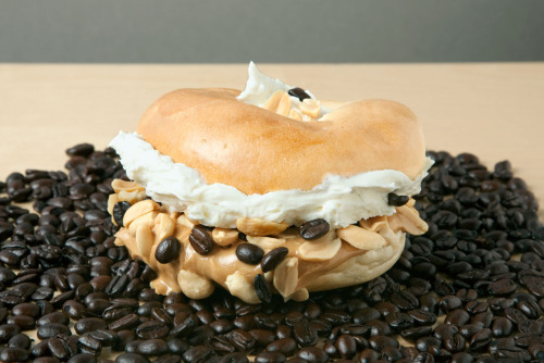 Java the Nut Plain bagel with White Chocolate Wonderful peanut butter, cream cheese, peanuts, and coffee beans. Conceived By Lee ZalbenPhotography By Theresa Raffetto Food Styling By Patty White Bread By Orwasher's