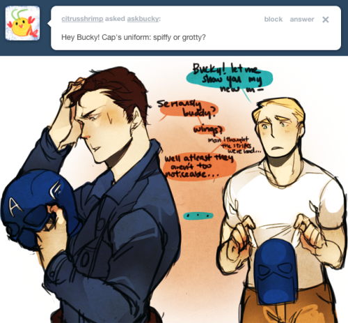 teaat2am:  askbucky:  At least he fights better than he dresses.  apparently I have no willpower