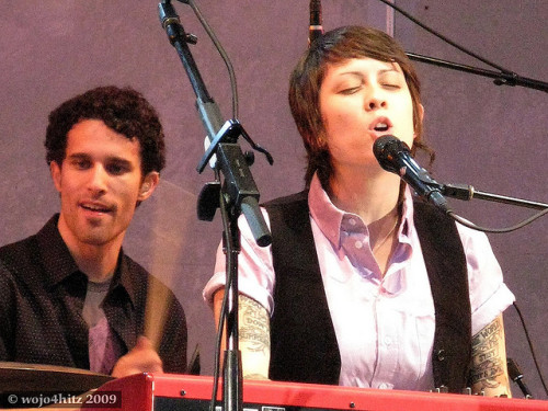 wojo4hitz:  8/18/11 Flickr #2 - Tegan at the Hollywood Bowl + Johnny sees a couple making out in the front row…? ;)  Man… 8/18/11… I've had a tumblr for that long?