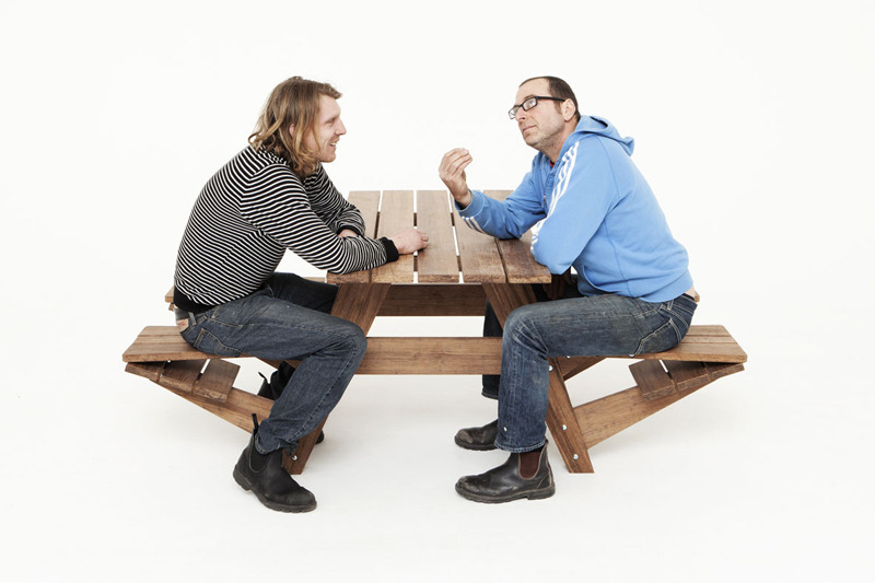 jonathanmoore:  Another Picnic Table Wouter Nieuwendijk and Jair Straschnow teamed up to challenge the traditional picnic table that provided easier access at the table and with a flip of the seat it converts into a comfortable lounge chair. Found on The Fox is Black