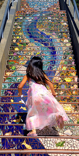 hammocknotes:  Girl runs up San Francisco's 16th Avenue Tiled Steps (by Abe K)