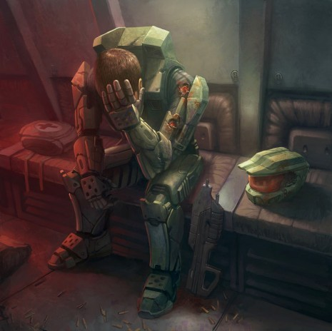 orangedrinks:  Master Chief, Exhausted We may think that Master Chief doesn't take his helmet off so he can remain mysterious, but that's not really the case. I think he leaves it on because spanning three games, he's pretty much in danger 100% of the time, and just never gets to take a break.Well this illustration shows that finally happening, but not before he's been shot a few times first. Probably not the best idea to support your head with your bullet ridden arm there Chief.I believe Paul Davies is to thank for this piece.