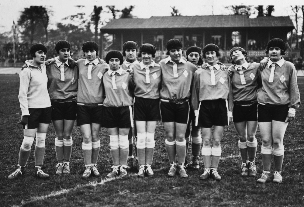 thefootballarchivist:  May 1925: The French women's football team line up before an international friendly against England's women at Herne Hill, London.  France probably won on penalties.