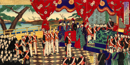 Meiji Constitution promulgation by Toyohara Chikanobu, 1889 Japan Click to see a bigger version