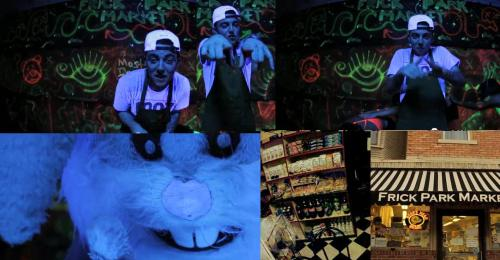 "Mac Miller ""Frick Park Market"" video. All Seeing Eye, Baphomet/devil Horns salute, pyramid, White Rabbit, bricks, Masonic flooring."