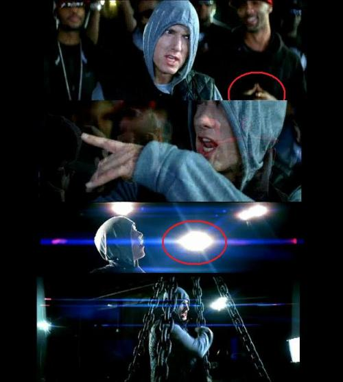 Joe Budden signals the pyramid, Eminem devil horns, illuminated all seeing eye, caged pyramid=mk-ultra slave