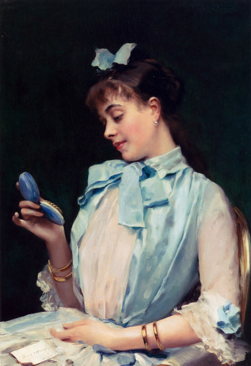 oldrags:  Portrait of Aline Mason in Blue by Raimundo Madrazo, date missing (1880's?)