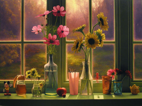 Flowers in a Morning Window by Scott Prior, 2003. Oil on canvas. Below, Window Still Life in Summer, 2000. So beautiful…like the planets came to rest on a windowsill to bask in earthly beauty.
