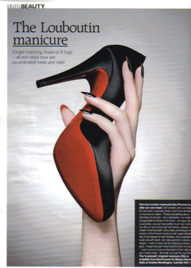 """The Louboutin Manicure"" Black nails with red underneath. WANT!"