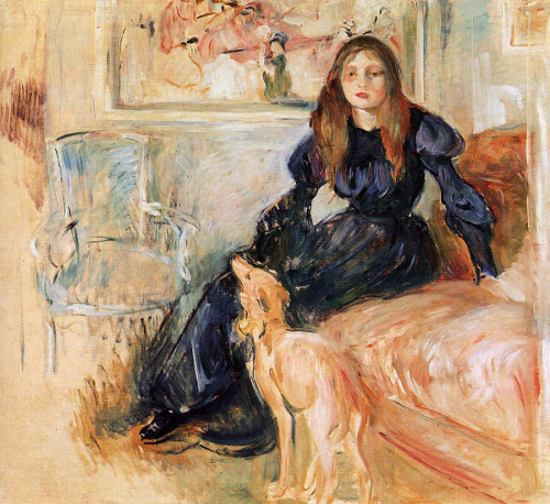 loquaciousconnoisseur:   missfolly: Berthe Morisot Julie Manet and Her Greyhound, Laertes (1893)