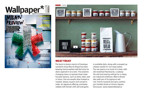 Our work for Meat & Bread is pictured in the May Issue of Wallpaper* magazine.