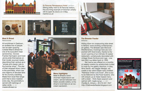 Our work for Meat & Bread is pictured in the May Issue of Monocle magazine.