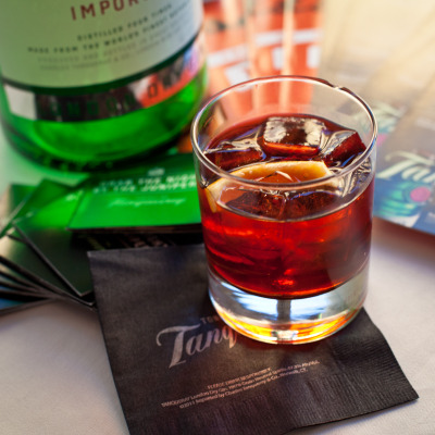 Enjoying a refreshing Negroni cocktail and the view at Tonight We Tanqueray, in the lovely Spanish Suite at the Clift Hotel in San Francisco, CA.