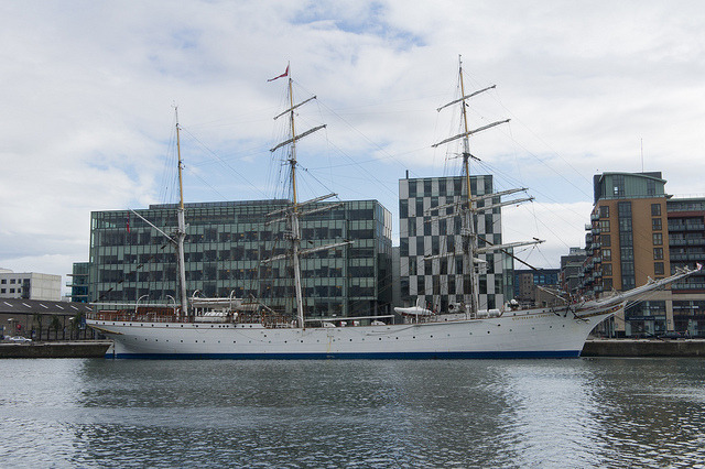 "streetsofdublin:  Norwegian Tall Ship, S/S Statsraad Lehmkuhl - Dublin Docklands on Flickr. Today (Friday 19th August) at Sir John Rogerson's Quay the very impressive and beautiful Norwegian Tall Ship, S/S Statsraad Lehmkuhl, was open to the public so I took the opportunity to go onboard and take a few photographs using a Sony NEX-5 camera. The purpose of the visit was to promote The The Tall Ships Races 2012 – Dublin event. As final host port for the 2012 Tall Ship Races, the event will see up to 100 Tall Ships sail into Dublin for a 4 day Festival and celebration, from Thursday the 23rd August to Sunday 26th August, 2012. Ships from as far away as Chile, Mexico, Argentina, USA and European and Baltic countries including Italy and Norway will sail to Dublin. The Tall Ships' Races are races for sail training ""tall ships"". The races are designed to encourage international friendship and training for young people in the art of sailing. The races are held annually in European waters and consists of two racing legs of several hundred nautical miles, and a ""cruise in company"" between the legs. Over fifty percent of the crew of every ship participating in the races must consist of young people. The Statsraad Lehmkuhl is a three-masted barque rigged sail training vessel owned and operated by the Statsraad Lehmkuhl Foundation. It is based in Bergen, Norway and contracted out for various purposes, including serving as a school ship for the Royal Norwegian Navy. It was built in 1914 as a school training ship for the German merchant marine under the name Grossherzog Friedrich August. After the First World War the ship was taken as a prize by the United Kingdom and in 1921 the ship was bought by former cabinet minister Kristoffer Lehmkuhl (hence the name, which means 'Cabinet Minister Lehmkuhl'). With the exception of the Second World War, when she was captured by German troops and called Westwärts, the ship has belonged to Bergens Skoleskib until it was donated to the Foundation in 1978. In 2000, it was chartered by the German Navy while their Gorch Fock was overhauled."