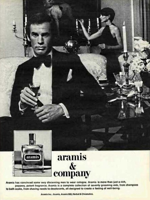 Estée Lauder, Aramis, 1965, by Bernard Chant Notes: bergamot, clary sage, myrtle, clove, patchouli, sandalwood, vetiver, treemoss, leather I'm fairly proud to say that this leather chypre is the first fragrance I ever bought with my own money. I think I saw it in a friend's dad's bathroom and decided it must be for the rich and mature. I bought it to seem grown up only to find it f*cking bizarre. I still have my original bottle from 1985 or something — a splash that makes subtle application impossible. Aramis opens with bergamot (sure), clary sage, myrtle, and clove (what the hell?). Strange and virtually unwearable now, in my humble opinion. I'd bet Robert Downey Jr. wore it as a young man. Here's a perfume-nerd heresy: To me, this smells like Guerlain's Mitsouko (1919), the scent that defines the chypre, with fewer flowers and more leather.