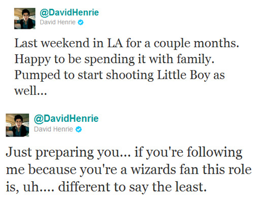 davidhenriedaily:  mrdavidhenrie:  I'm getting excited! :D  what do you guys think this could mean? i'm hoping for a sex scene…it'll come in handy for daydreaming/fantasies…i mean….uh..   I'm thinking of him playing villain role, but my gutter mind like your sex scenes idea better ;)