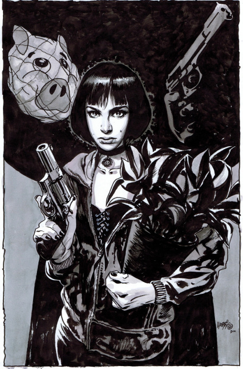 heyoscarwilde:  No women, no kids, that's the rules. Mathilda (and Léon) by Tony Harris :: via comicartfans.com  amazing