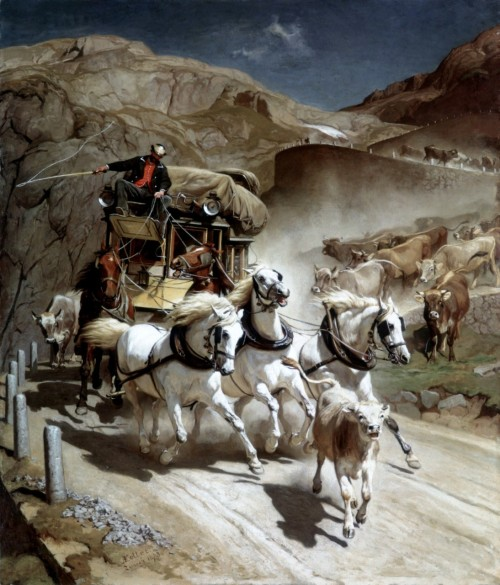 The St. Gothard Mail Coach by Johann Rudolf Koller Switzerland, 1873 Painting, Oil on canvas via missfolly