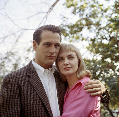theniftyfifties:  Paul Newman and Joanne Woodward, 1950s.  So handsome!  —  Jessica