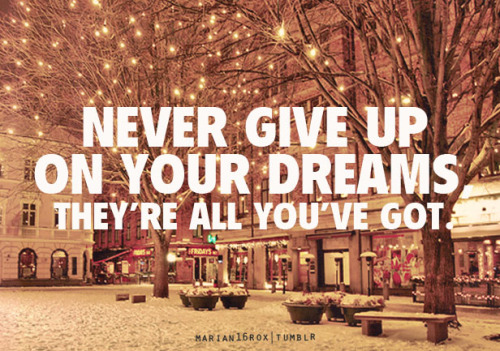 Never give up on your dreams. They are all you've got.