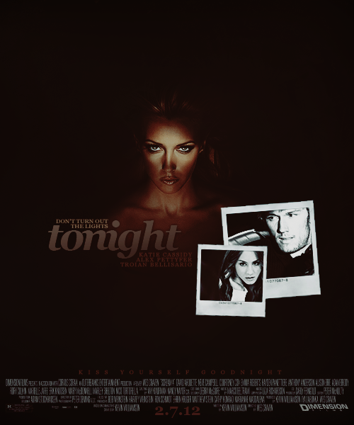 """TONIGHT""  → starring katie cassidy, alex pettyfer & troian bellisario.  Stricken with a serious case of wanderlust, Owen (Pettyfer) and Natalie (Bellisario) set out on a road trip in an attempt to find themselves before heading off the college. Their first night driving, however, their car is hit, spiraling into a ditch and sending them spiraling into unconsciousness. Awaking the next day bound to two chairs in a strange house, they meet Marley (Cassidy), an escaped mental patient who plans on playing a dangerous game with them. The only way to win her torturous game is to stay alive until daybreak — the catch? Only one person can win. One way or another, someone's going to die tonight.  → requested by boredom"