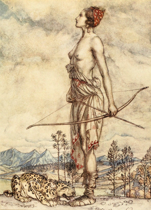 enchantingimagery:  The huntress Dian. A depiction by Arthur Rackham of the Roman goddess of the hunt, Diana, for John Milton's Comus.