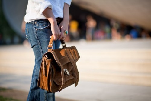 jeans, a white shirt, and a cognac bag.can't beat it.