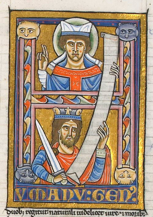 "There is a LOT to love in this historiated initial from a 12th-century manuscript of Gratian's Decretum (the canon law book of the Roman Catholic church from the 12th century until 1918).  The wonderful animal faces chomping on the bars of the ""H"" The representation of the two powers, ecclesiastical and secular (no surprise which is on top) The plethora of scribal abbreviations: the ""M"" bar over the V in HVMANVM; the apostrophe-like VS curve for GENVS; the semi-colons that show up for ablative endings in duobus and moribus The visibility of the ruling, so that even the scroll in the initial looks lined The Tironian note (that looks like a 7), which predates the ampersand (I love that & and 7 are on the same key on keyboards) The glorious legibility of this elegant 12th-century French hand: HVMANVM GENVM duobus regitur naturali videlicet iure et moribus ""The human race is ruled by two things, that is, by natural law and by customs."" These are the opening words of the first page of the first part of Gratian's Decretum. Fun fact: my grad-school roommate wrote his dissertation on the textual history of several Decretum manuscripts, and he won a MacArthur ""genius"" fellowship for it. This initial, found at BibliOdyssey, is from a manuscript found in the library of Troyes, in France: MS. 103."