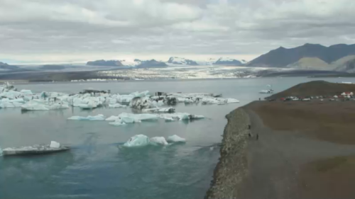 jokulsarlon:  20 August, 12:12 PM. A nice view of the lagoon and the glacier, with former volcanic ash from Grimstvön. 60/365