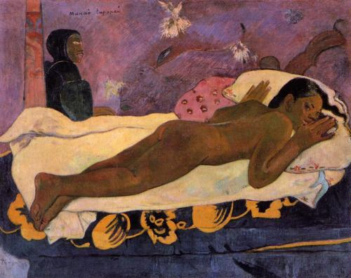 The Spirit of the Dead Watching by Paul Gauguin, 1892. This was painted during Gauguin's infamous visit to the island of Tahiti in French Polynesia and depicts his 14 year old wife Tehura, one of the many prepubescent girls who supposedly endured sexual relations with Gauguin during his time there. The 'spirit' being referenced is represented by the cloaked figure in the left of the background, but also through the spiritual, phosphorescent lighting.