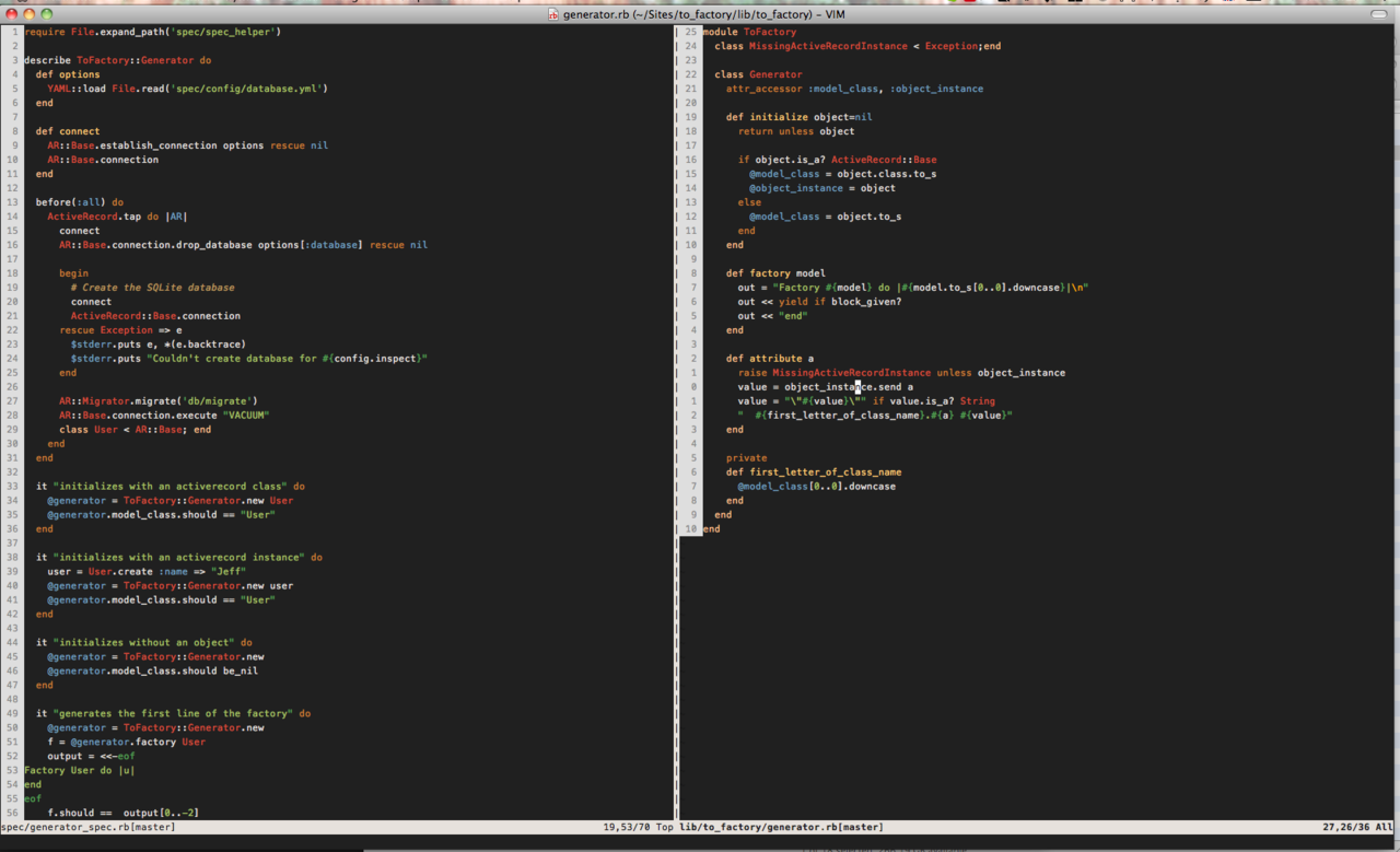 Here's my modified Railscast theme. My vim repo is available at github.com/markburns/vimfiles To me now it finally has the visual appeal and simplicity of TextMate but with the power of vim. My vim repo is a customized version of the Akita on Rails repo. My vimrc is messy in places but it a continual gradual work in progress as I remove the restrictions and annoyances to the way I work.  One day I'll learn to write decent quality vim scripts.