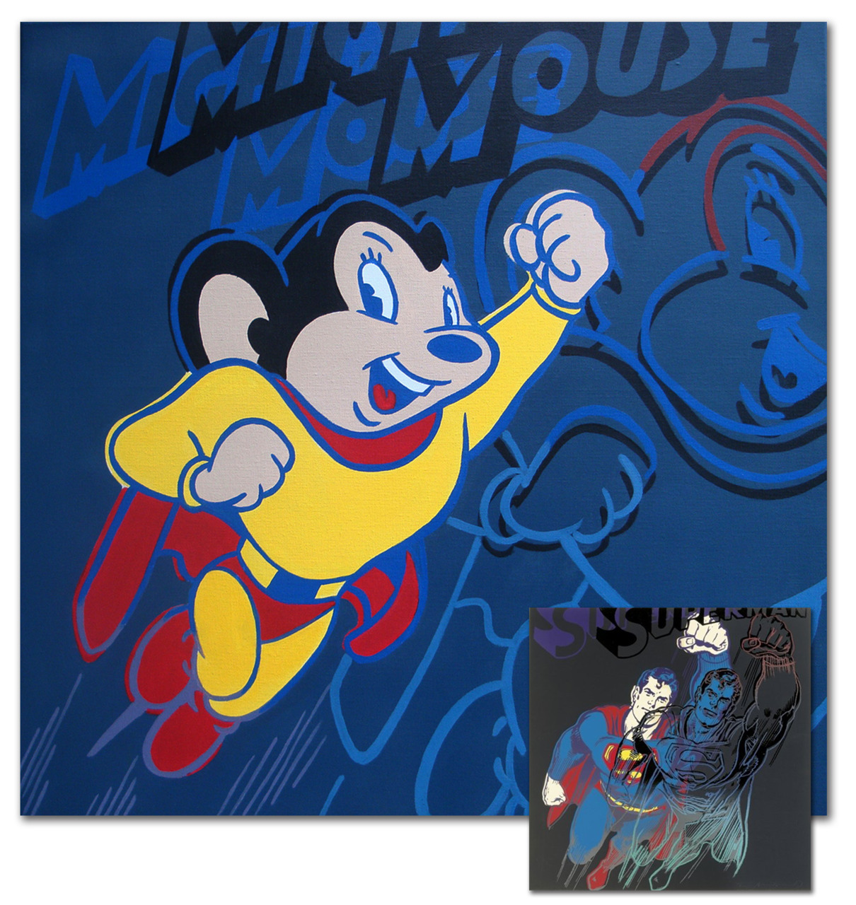 "MIGHTY MOUSE  ACRYLIC ON CANVAS  An 18"" X 18"""" Canvas Painting  Its been said that Mighty Mouse was a take on Superman. Here, I took Andy Warhol's Superman and applied it to Mighty Mouse. Half the size of Warhol's original, of course.  Inset is Warhol's Superman.  Part of STOREFRONT ARTIST PROJECT, SATURDAY MORNINGS August 6 thru September 4, 2011"