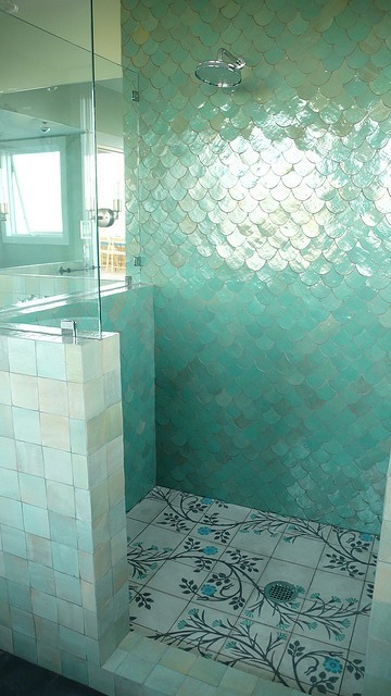 highwaysunset:  Fish scale tiles for your shower? Yes please!