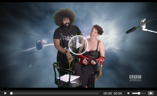 doctorwho:  BuzzFeed Exclusive: Amanda Palmer And Reggie Watts Sing About Doctor Who   Hey, check it - Amanda Palmer and Reggie Watts sang this little ditty about how much they love the Doctor. Because they are nerds. But also because they are awesome. This is an outtake from the Doctor Who Specials that BBC America are releasing in anticipation of the new episodes that  air in a couple of weeks. (The next special airs on BBC America this  Saturday, August 20th, at 9/8c.)   Clicketh to watcheth.  Holy crap to everything.