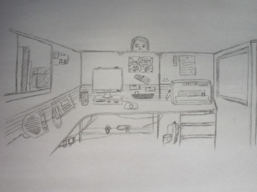 A quick sketch of my office cubicle and my coworker, Ruth, who scares me on a daily basis