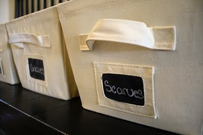 craftyscientist:  (via A Diamond in the Stuff: Chalkboard Canvas Bins & A Winner)  Simple, reasonably affordable, reusable. I like it.