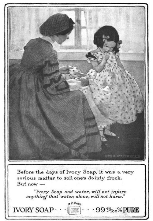 [image: a 1914 Ivory Soap ad featuring a Jessie Willcox Smith illustration showing a young woman in a hairnet examining the hem of a child's dress. The child ducks her head and holds a finger to her mouth, presumably in a show of contrition]