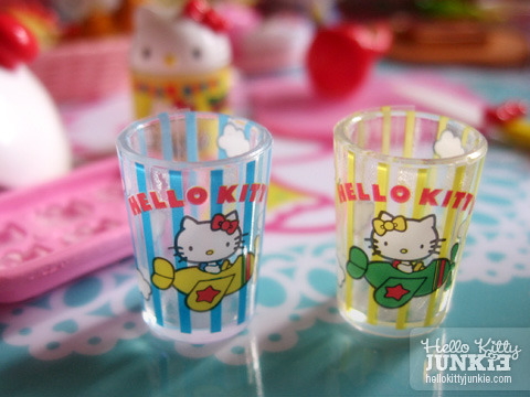 Hello Kitty miniature drinking glasses.