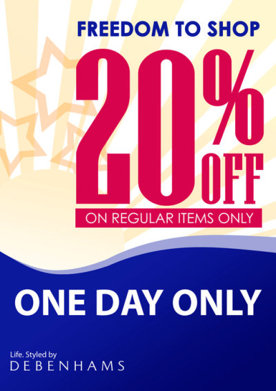 Celebrate your FREEDOM TO SHOP! Get 20% OFF on ALL REGULAR ITEMS, this Sunday, August 21, 2011. One day only! Happy Shopping!