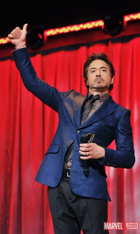 Robert Downey Jr. LIKE A BOSS. On stage at D23 The Avengers crew, making the crowd blow the roof off the joint.