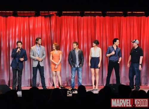 Robert Downey Jr., Chris Hemsworth, Scarlett Johansson, Jeremy Renner, Cobie Smulders, Tom Hiddleston & Kevin Feige on stage at D23 2011. So happy. So attractive. So awesome.  Avengers Assemble! Pics and the liveblog of our Avengers event here.