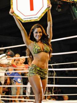 Maria Melilo - ringside, in action. The UFC Rio card girl. Yes.