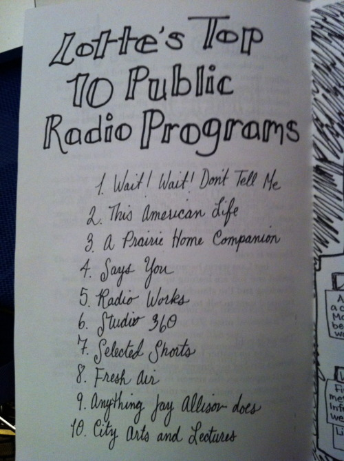 iamcharlotteaddams:  In honor of National Radio Day: the list of my top 10 Public Radio Programs that was in my short-lived (read: two issue) high school zine. Still pretty accurate. (Note: ranking is basically random past #3) Wait! Wait! Don't Tell Me (DUH) This American Life (close second) A Prairie Home Companion (Garrison Keillor, you complete me) Says You! [American] Radio Works Studio 360 Selected Shorts Fresh Air Anything Jay Allison does (kind of a cop out, but the man is a public radio producin' genius and hotwired into my soul) City Arts and Lectures Also Radiolab (don't know how that got left off the original list. Oops), and let's just go ahead and say every single program on KQED's schedule. Public radio is the business, y'all.  I totally forgot about National Radio Day. (It was Saturday.) We are honored to be #8 on your list. (Very nice penmanship.)