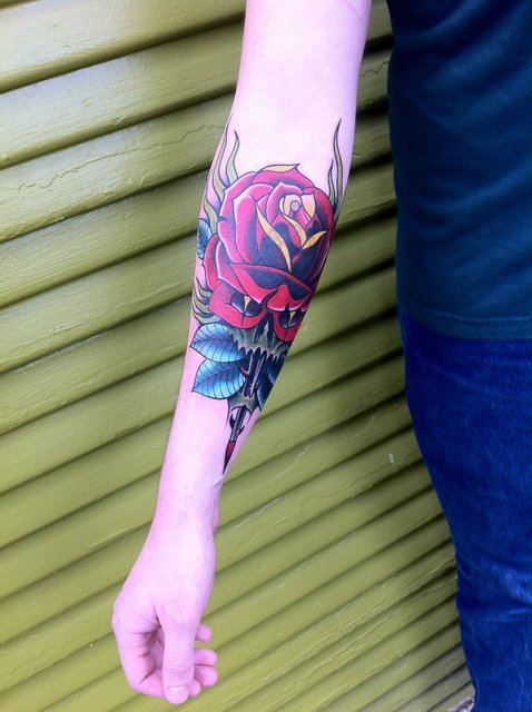Rose and skull by by Clae Welch at Historic Tattoo, Portland, Oregon.